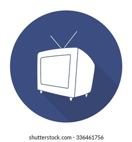 White vector television on color circle background.
