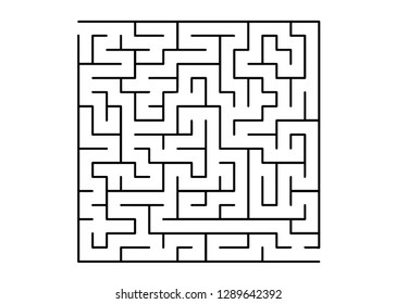 White vector template with a black  maze, puzzle. Abstract illustration with maze on a white background. Concept for pazzle, labyrinth books, magazines.