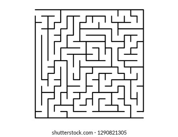White vector template with a black  maze, puzzle. Simple illustration with a maze on a white background. Concept for pazzle, labyrinth books, magazines.