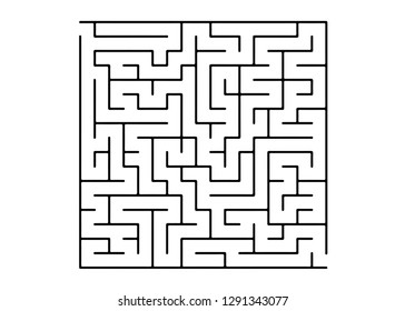 White vector template with a black  maze, puzzle. Complex illustration with mazes on a white template. Concept for pazzle, labyrinth books, magazines.