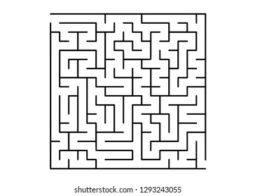 White vector template with a black  maze, puzzle. Maze design in a simple style on a white background. Concept for pazzle, labyrinth books, magazines.