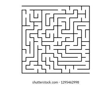 White vector template with a black  maze, puzzle. Modern illustration with maze on a white backdrop. Concept for pazzle, labyrinth books, magazines.