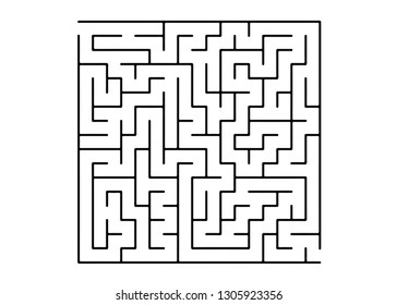White vector template with a black  maze, puzzle. Black and white maze in a simple style. Concept for pazzle, labyrinth books, magazines.