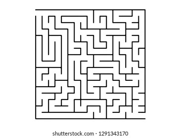 White vector texture with a black maze, game. Abstract illustration with maze on a white background. Concept for pazzle, labyrinth books, magazines.