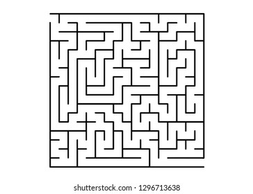 White vector texture with a black maze, game. Black and white maze in a simple style. Concept for pazzle, labyrinth books, magazines.