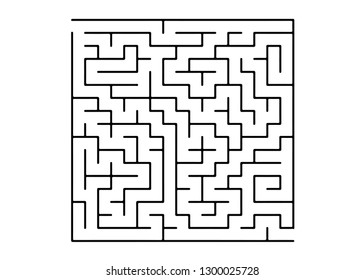 White vector texture with a black maze, game. Complex illustration with mazes on a white template. Concept for pazzle, labyrinth books, magazines.