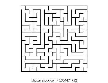 White vector texture with a black maze, game. Modern illustration with maze on a white backdrop. Concept for pazzle, labyrinth books, magazines.