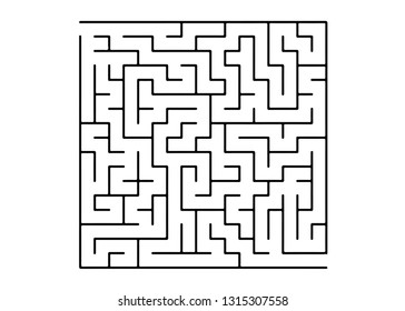 White vector texture with a black maze, game. Maze design in a simple style on a white background. Concept for pazzle, labyrinth books, magazines.
