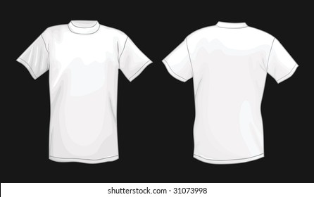 White vector T-shirt design template (front & back) isolated on black background