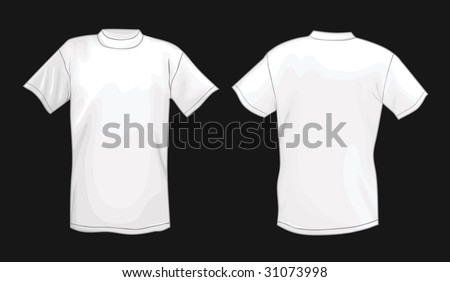 ee4f22fb White vector T-shirt design template (front & back) isolated on black  background