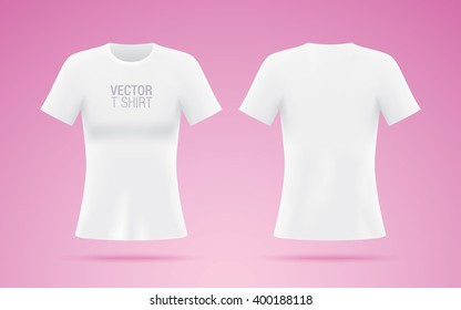 White vector T-shirt. Woman T-shirt template isolated on pink background. Realistic mockup.