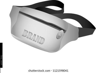 White vector waist bag of banana. Modern  teenage Back to School accessory