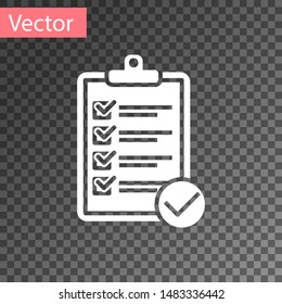 White Verification of delivery list clipboard and pen icon isolated on transparent background.  Vector Illustration
