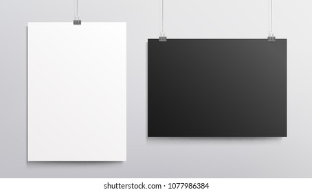 White vertical poster and black horisontal poster - Mockup template for presentation your design. Realistic vector mockup blank poster, banner or cover