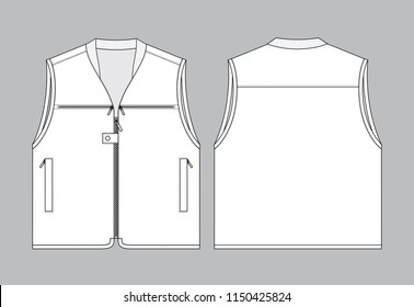 White Vest With Multiple Pockets Vector for Template.Front and Back Views.