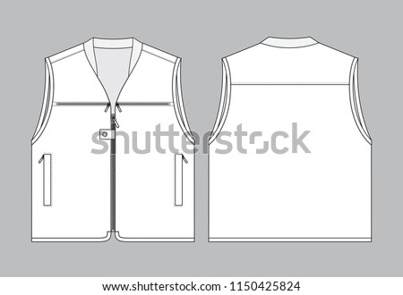 white vest template front back view stock vector royalty free