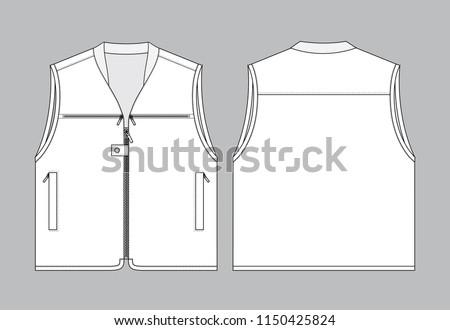 White Vest Template Front Back View Image Vectorielle De Stock
