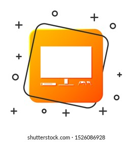 White Video game console icon isolated on white background. Game console with joystick and lcd television. Orange square button. Vector Illustration