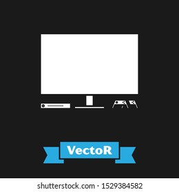 White Video game console icon isolated on black background. Game console with joystick and lcd television.  Vector Illustration