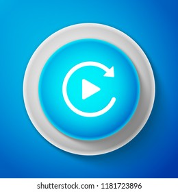 White Video play button like simple replay icon isolated on blue background. Circle blue button with white line. Vector Illustration