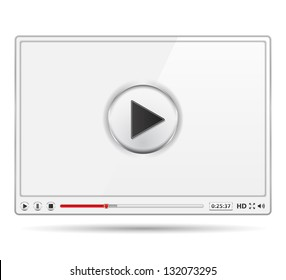White video player template, vector eps10 illustration