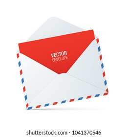 White, vintage style opened envelope with red and blue stroke and red letter, standing on a white surface. Vector envelope mockup.