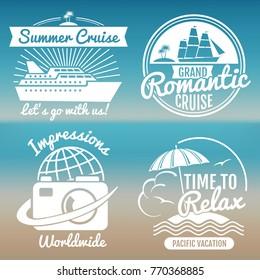 White vintage vacation logo set - summer travel banners design. Vector illustration