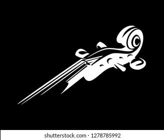 weißer Geigenhals auf Schwarz - klassisches Musikinstrument, Vektordesign