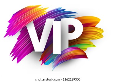 White vip sign with spectrum brush strokes on white background. Colorful gradient brush design. Label or invitation template. Vector paper illustration.