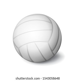 White volleyball ball icon isolated, sports equipment, vector illustration