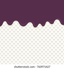 White wafer background with flowing blueberry sauce.