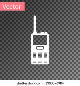 White Walkie talkie icon isolated on transparent background. Portable radio transmitter icon. Radio transceiver sign. Vector Illustration