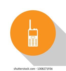 White Walkie talkie icon isolated on white background. Portable radio transmitter icon. Radio transceiver sign. Orange circle button. Flat design. Vector Illustration