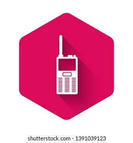 White Walkie talkie icon isolated with long shadow. Portable radio transmitter icon. Radio transceiver sign. Pink hexagon button. Vector Illustration