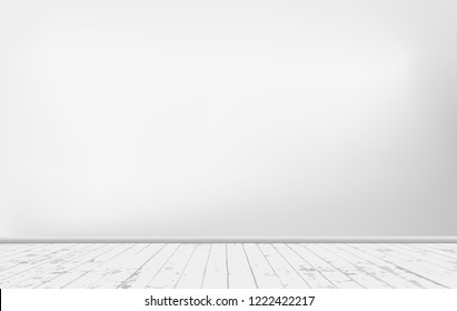 White wall background with wooden floor. Vector illustration.