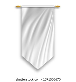 White wall hanged pennant. Template. empty 3D Textile flag. Vector illustration.
