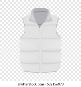 White warm vest mockup. Realistic illustration of white warm vest vector mockup for web