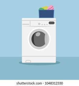 White washing machine with clean clothes isolated on background. Landromat icon. Laungry, domestic appliance, home equipment in room, bathroom. Washer and dryer. Housework concept. Vector flat design