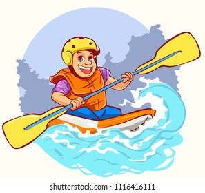 White water rafting, vector character.