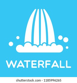 White Waterfall logotype isolated on blue. Vector