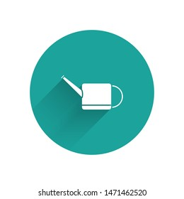 White Watering can icon isolated with long shadow. Irrigation symbol. Green circle button. Vector Illustration