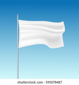 White waving flag template. Clean horizontal canvas, for your design. Empty blank of flag on flagpole on the sky. Vector illustration.