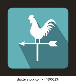 White weather vane with cock icon in flat style on a light blue background