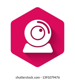 White Web camera icon isolated with long shadow. Chat camera. Webcam icon. Pink hexagon button. Vector Illustration
