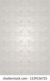 white wedding background with a pearl shine, royal, vintage with classic Baroque pattern, Rococo with darkened edges background(card, invitation, banner). vertical format