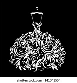White wedding dress with floral ornament vector illustration