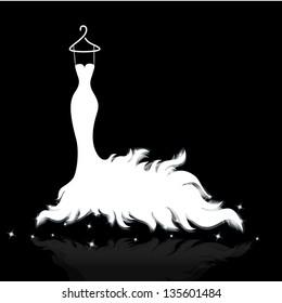 White wedding dress vector illustrations