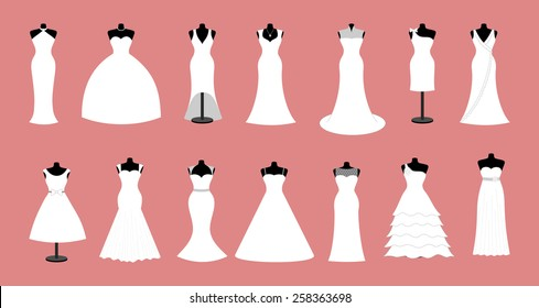 White wedding dresses icon collection. Set of 14 mannequin wear different design of modern style dress with jewelry, diamond and pearl necklace Vector art image illustration isolated on red background