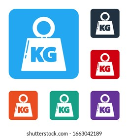 White Weight icon isolated on white background. Kilogram weight block for weight lifting and scale. Mass symbol. Set icons in color square buttons. Vector Illustration