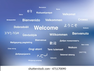 White welcome phrase in different languages of the world on blue blurred background